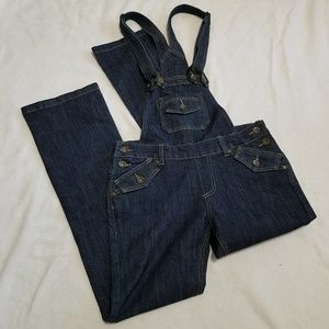 Dark denim skinny fit bootcut bib overalls